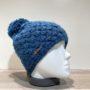 Bonnet tricot uni bleu doublé avec pompon Herman
