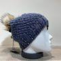 Bonnet tricot uni bleu strass doublé avec pompon Herman