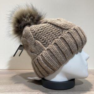 Bonnet tricot torsadé uni taupe doublé avec pompon