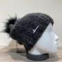 Bonnet tricot uni anthracite fil en lurex brillant doublé avec pompon Herman