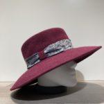 Chapeau bord large feutre laine bordeaux