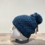 Bonnet tricot uni pétrole doublé avec pompon Herman
