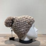 Bonnet tricot uni mastic doublé avec pompon Herman