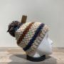 Bonnet tricot à rayures multicolore bleu doublé avec pompon Herman