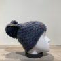 Bonnet tricot uni denim doublé avec pompon Herman
