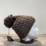Bonnet tricot uni taupe doublé avec pompon Herman