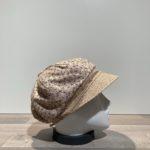 Casquette gavroche motifs beige élastiquée doublée