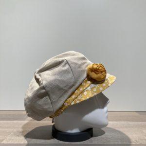 Casquette gavroche beige-moutarde élastiquée doublée
