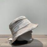 Chapeau cloche lin beige avec rayures doublé