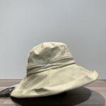 Capeline bord large coton beige anti UV