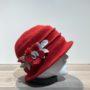 Chapeau cloche rouge doublure polaire