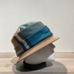 Chapeau cloche marron-taupe-bleu canard doublure polaire