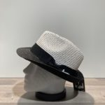 Chapeau trilby blanc-noir paille papier malléable