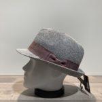 Chapeau trilby gris avec strass paille papier malléable