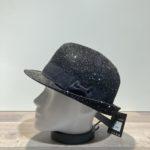 Chapeau trilby noir avec strass paille papier malléable