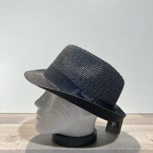 Chapeau trilby noir paille papier malléable