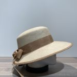 Casquette visière beige ajustable avec ruban