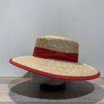 Chapeau canotier paille cousue galon rouge