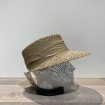 Casquette visière ajourée paille naturelle avec ruban beige